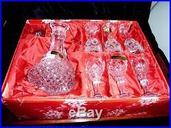 Fabulous Vintage Bohemian Crystal Sherry Set Boxed C 1970's