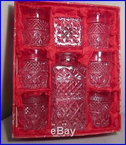 Genuine Vintage Bohemia Lead Crystal Whisky Set 7 pcs