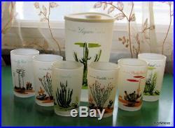 HTF Vintage Blakely Gas Oil Juice Glasses (6) w. Decanter Lid! 1950s Western