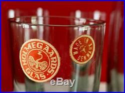 HTF Vtg MID CENTURY DANISH MODERN HOLMEGAARD SMOKE GLASS DECANTER & 8 CORDIALS