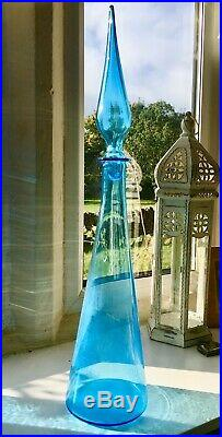 Huge 23 Vintage MCM Italian Empoli Glass Genie Bottle Ice Blue 1970s Decanter