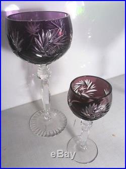 Huge Set of 12 German Crystal Wine / Sherry Glasses + Decanter ANNAHÜTTE- #RS1