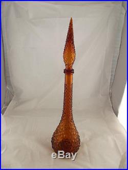 Huge Vintage retro Amber Genie Bottle Italian art glass Decanter