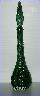 Italian Empoli Green Art Glass Decanter w Stopper Genie Bottle 22 Tall Vintage