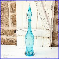 Italian Vintage Sky Blue EMPOLI Glass Joker Genie Bottle Decanter with Stopper