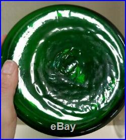 Large 22 Vintage Mid Century Modern Green Blenko Vase / Decanter w Stopper