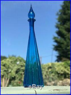 Large Blue Fluted Vintage MCM Italian Empoli Genie Bottle Decanter Glass