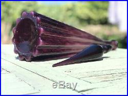 Large Deep Purple Fluted Vintage MCM Italian Empoli Genie Bottle Decanter Glass