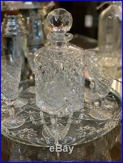 Large Diamond Cut Vintage Crystal DeCanter