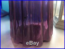 Large Mauve Fluted Vintage MCM Italian Empoli Glass Genie Bottle Decanter 1960s