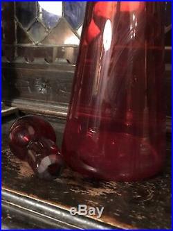Large Red Empoli Genie Bottle 65 cm Vintage Mid Century Italian 1960s 1970s