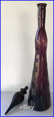 MCM Vintage Decanter Genie Bottle Rossini Empoli Italy Purple Amethyst 26