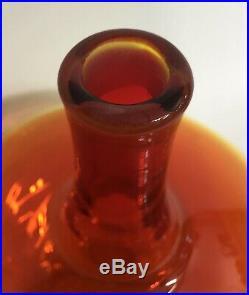 Mid Century Blenko Amberina Tangerine Large Glass Vintage Decanter 6532