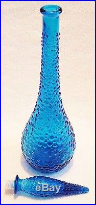 Mid Century Empoli Decanter Genie Bottle Blue Glass Made in Italy Vintage Tall