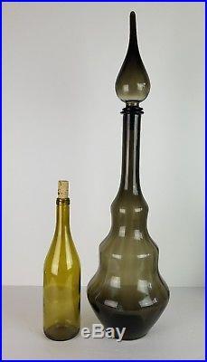 Mid Century Modern Decanter Gray Smoke Stopper Empoli Optic Vtg Bottle 26