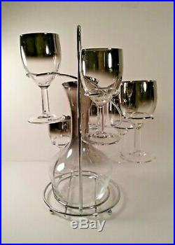 Mid Century Silver Fade Decanter & Glasses Set Dorothy Thorpe Vintage Retro 8p