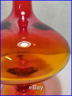 Mid to Late Century Blenko Amberina Tangerine Large Glass Vintage Decanter