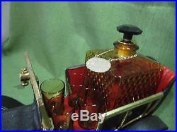 Musical Vintage Ford Car Liquor Decanter Set Of 4 Shot Glasses Scotch Chain