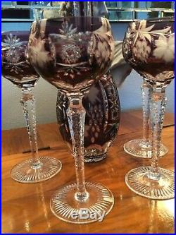Nachtmann Traube Amethyst Purple Leaded Crystal Wine Decanter And Four Goblets