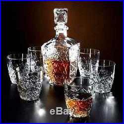 New Crystal Bottle Decanter Vintage Glass Whiskey Wine Liquor Jim Beam Alcohol