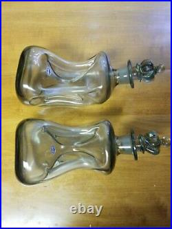 Pair Vintage Holmegaard Curved Decanter Extreme Pinched Smoky Glass CrownStopper