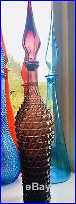 Plum Glass Diamond Genie Bottle Italy Empoli 1960s Vintage Decanter Rossini