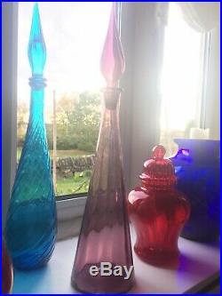 Plum Glass Genie Bottle Italy Empoli 1970s Vintage Decanter Mcm 22.5