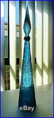 RARE 1950s RETRO VINTAGE OCEAN BLUE ITALIAN ART GLASS GENIE BOTTLE DECANTER