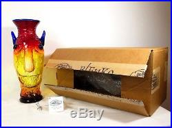 RARE BLENKO Ltd Edition 15/50 HANK ADAMS ART GLASS DEVIL HEAD VASE Decanter Vtg