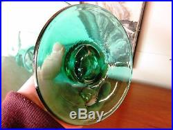 RARE Large Size HUSTED BLENKO 6312L SEA GREEN DECANTER Retro Art Glass Vtg MCM