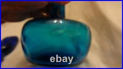 RARE Vintage Blenko Wayne Husted Blue Decanter Genie Bottle & Stopper MCM Modern