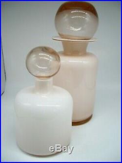 RARE Vintage Italian glass 2 opaline Moretti Empoli decanter bottles & stoppers