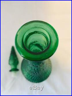 RARE Vintage Italy Green Glass Genie Wine Bottle Decanter w Stopper Hobnail