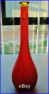 RED/ORANGE 1960s DIAMOND RETRO VINTAGE ITALIAN ART GLASS GENIE BOTTLE DECANTER