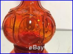RED-ORANGE TANGERINE VINTAGE ITALIAN ART GLASS GENIE BOTTLE DECANTER w. STOPPER