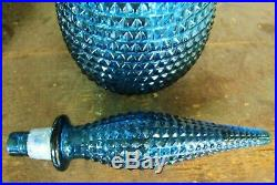 RICH DEEP TEAL BLUE DIAMOND ITALIAN ART GLASS GENIE BOTTLE DECANTER VINTAGE 60's