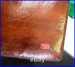 Rare Antique Vintage Green Glass Alcohol Decanter Bottle In Leather Holder/case