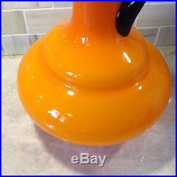 Rare Big Vtg. Italian Empoli Art Glass Cased Orange Decanter Pitcher Ewer
