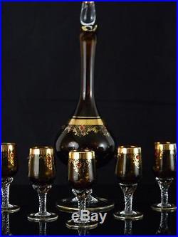Rare! Elegant Vintage Amber Colored Pedestal Glass Wine Decanter Set