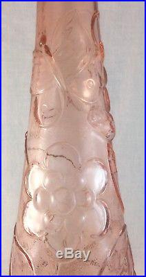 Rare Large Vintage Italian Pink Glass Genie Bottle With Stopper Retro Decanter