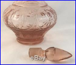 Rare Retro Pink Glass Genie Bottle Decanter With Stopper Vintage