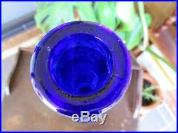 Rare VINTAGE SUPER RICH COBALT BLUE ITALIAN ART GLASS GENIE BOTTLE DECANTER