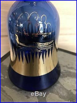Rare VTG Cobalt Blue Glass Bottle Decanter Italian Rossini Empoli WithLabel Venice