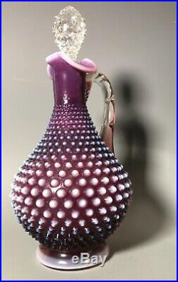 Rare Vintage Fenton Hobnail Plum Decanter Purple Opalescent 12.5