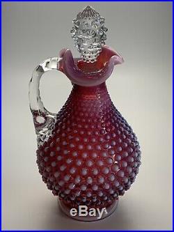 Rare Vintage Fenton Hobnail Plum Decanter and Goblets