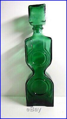 Rare Vintage Green Italian Art Glass Genie Bottle Decanter