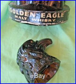 Rare vintage Amber glass Mohan Meakin empty Golden Eagle Whisky bottle decanter