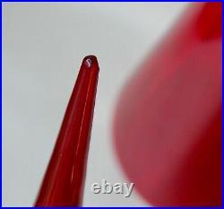 Red MCM Italian Empoli Genie Bottle Glass Blown 1960s Vintage Decanter