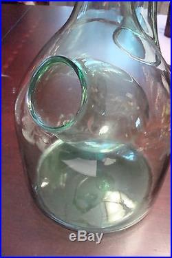 Retro 70s vintage hand-blown Italian glass wine cooler bottle decanter 13a10