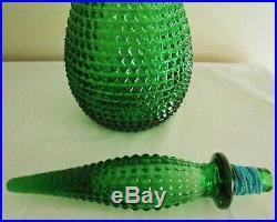 Retro Vintage Green Diamond Italian Art Glass Bubble Genie Bottle Decanter